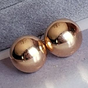 18K 10mm solid Gold Earrings Balls